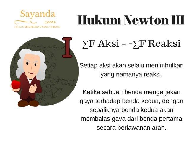 Hukum Newton III (Ketiga)